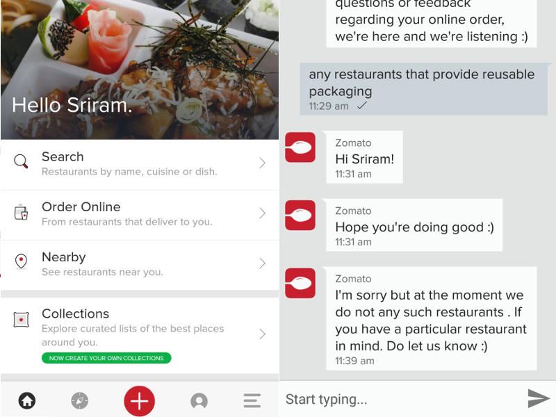 Zomato Chat option introduced