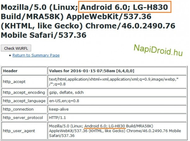 LG G5 User Agent Profile Leaked